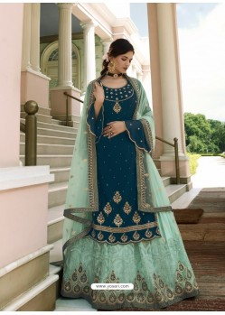 Teal Blue Scintillating Designer Wedding Salwar Suit