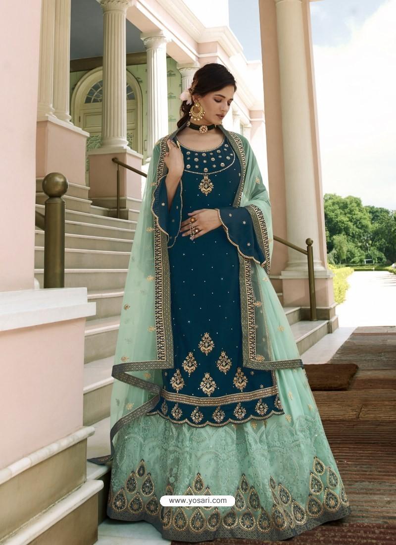 Teal Blue Scintillating Designer Wedding Salwar Suit