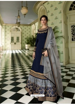 Navy Blue Scintillating Designer Wedding Salwar Suit