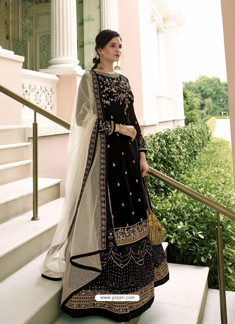 Black Scintillating Designer Wedding Salwar Suit