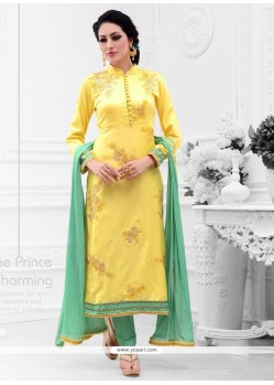 Bedazzling Cotton Satin Yellow Embroidered Work Designer Straight Salwar Kameez
