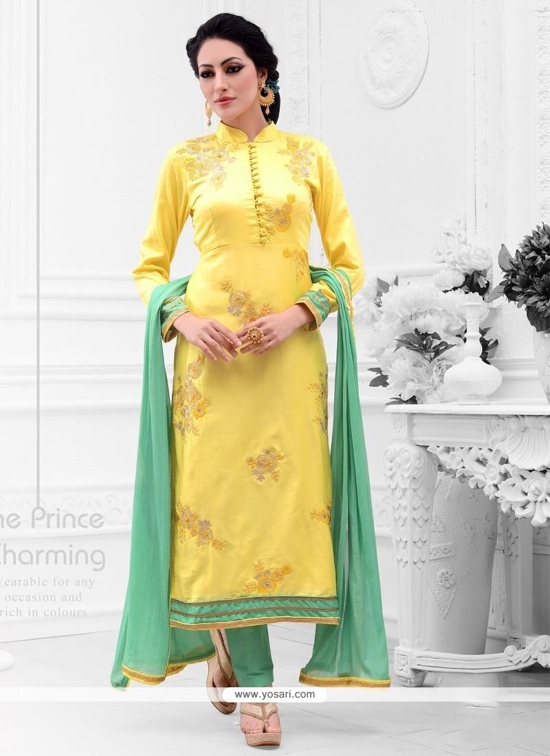 Bedazzling Cotton Satin Yellow Embroidered Work Designer Straight Salwar Kameez