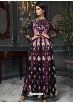 Mauve Latest Designer Heavy Net Party Wear Pakistani Suit
