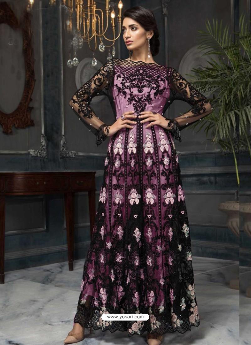 Mauve Latest Designer Heavy Net Party Wear Pakistani Suit