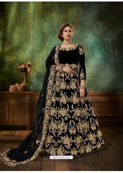 Black Stunning Heavy Designer Falcon Velvet Party Wear Anarkali Suit