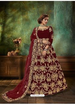 Maroon Stunning Heavy Designer Falcon Velvet Party Wear Anarkali Suit