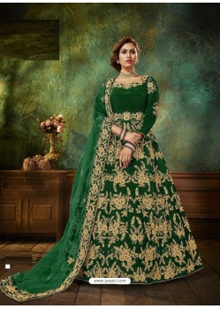 Forest Green Stunning Heavy Designer Falcon Velvet Party Wear Anarkali Suit