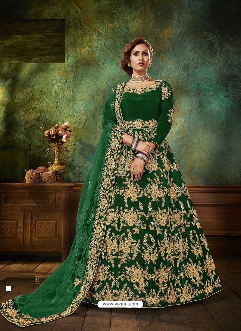 Forest Green Stunning Heavy Designer Falcon Velvet Party Wear Anarkali Suit