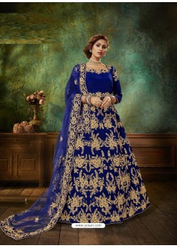 Royal Blue Stunning Heavy Designer Falcon Velvet Party Wear Anarkali Suit