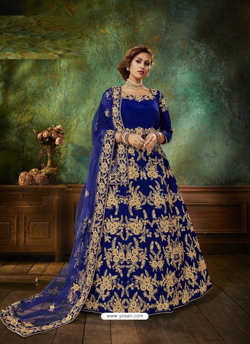 Royal Blue Stunning Heavy Designer Falcon Velvet Party Wear Anarkali Suit