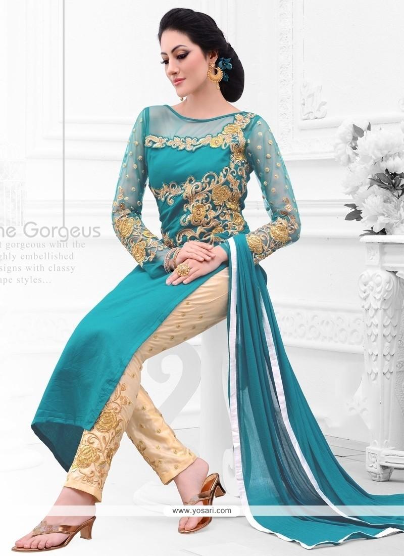 Talismanic Cotton Satin Teal Salwar Suit