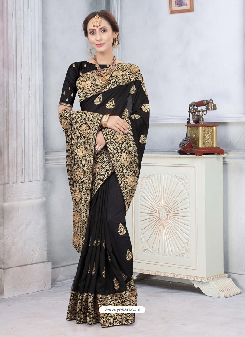 Black Latest Designer Classic Wear Silk Sari