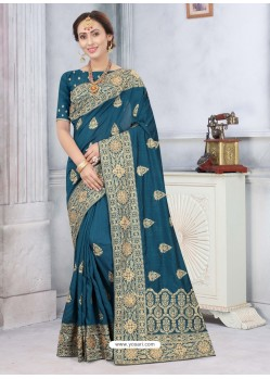 Teal Blue Latest Designer Classic Wear Silk Sari