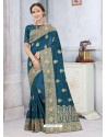 Teal Blue Latest Designer Classic Wear Silk Sari