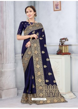 Navy Blue Latest Designer Classic Wear Silk Sari