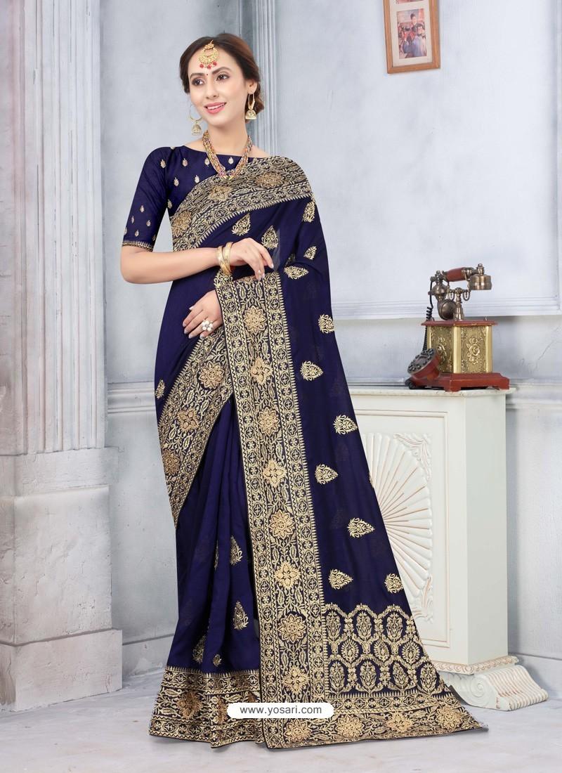 Navy Blue Latest Designer Classic Wear Silk Sari