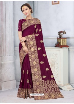 Deep Wine Latest Designer Classic Wear Silk Sari
