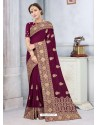 Deep Wine Latest Designer Classic Wear Silk Sari