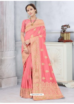 Peach Latest Designer Classic Wear Silk Sari