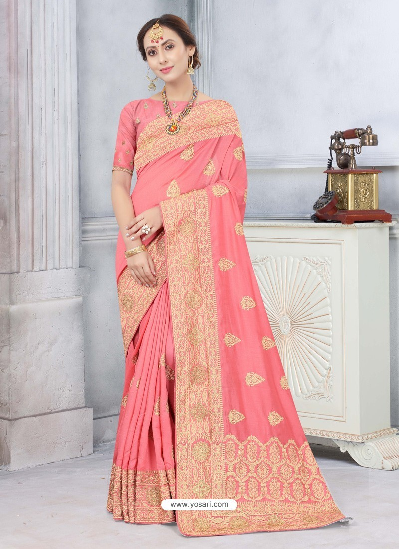 Peach Latest Designer Classic Wear Silk Sari