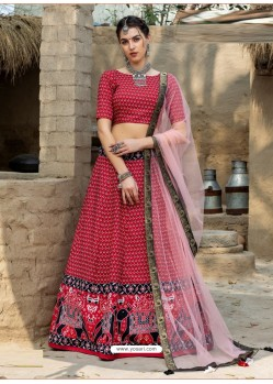 Red Heavy Designer Party Wear Art Silk Lehenga