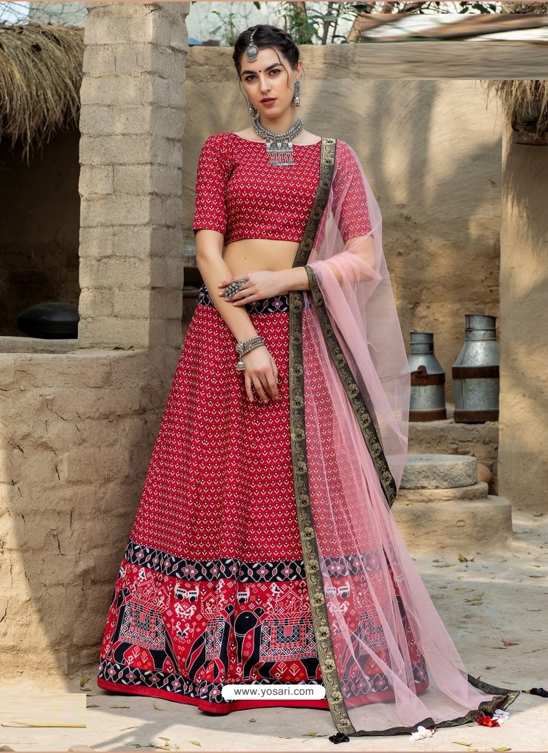 Red Heavy Designer Party Wear Art Silk Lehenga