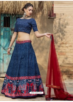Dark Blue Heavy Designer Party Wear Art Silk Lehenga