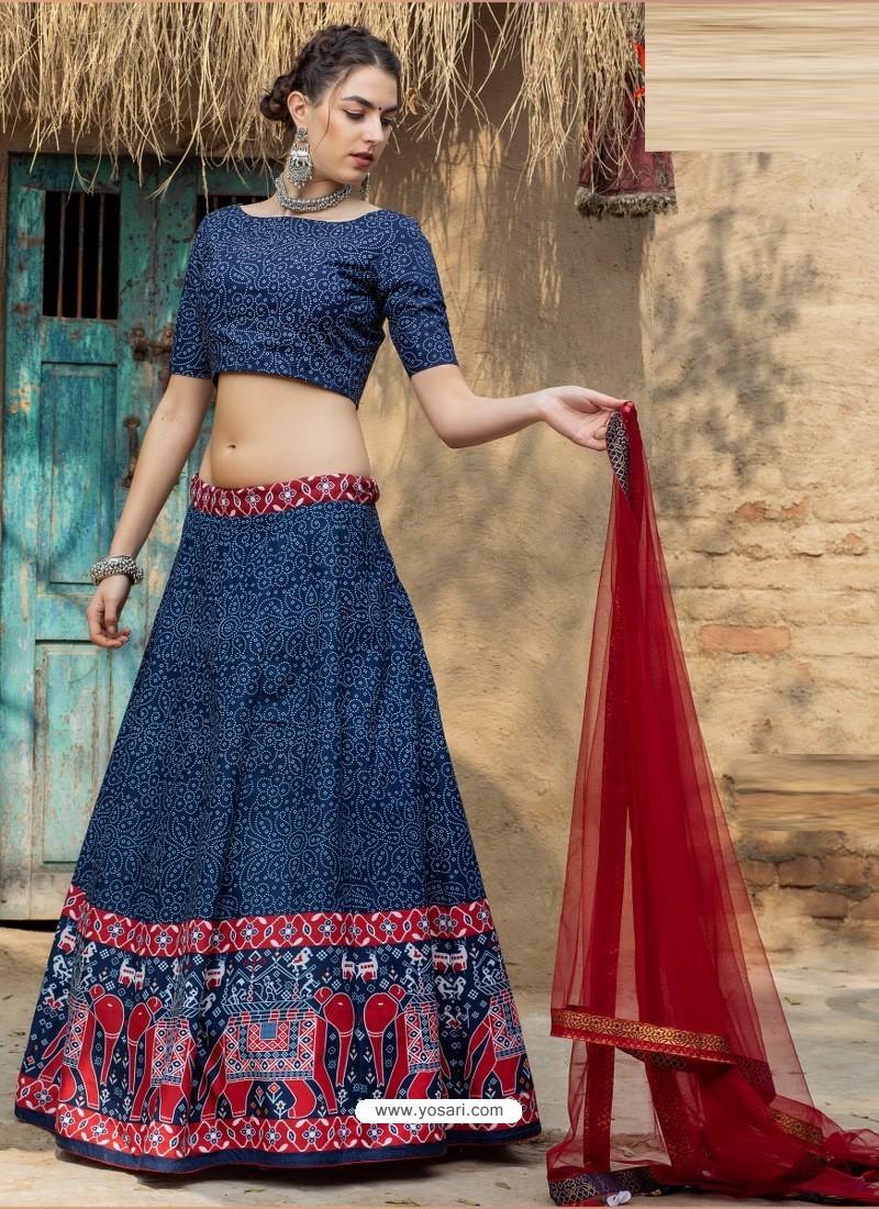 Dark Blue Heavy Designer Party Wear Art Silk Lehenga