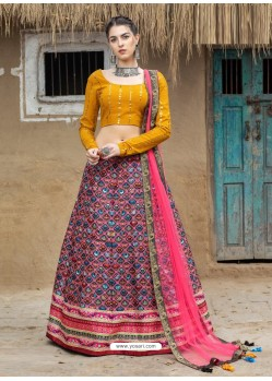 Multi Colour Heavy Designer Party Wear Art Silk Lehenga