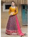 Multi Colour Heavy Designer Party Wear Art Silk Lehenga