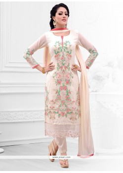 Brilliant Resham Work Cream Salwar Kameez