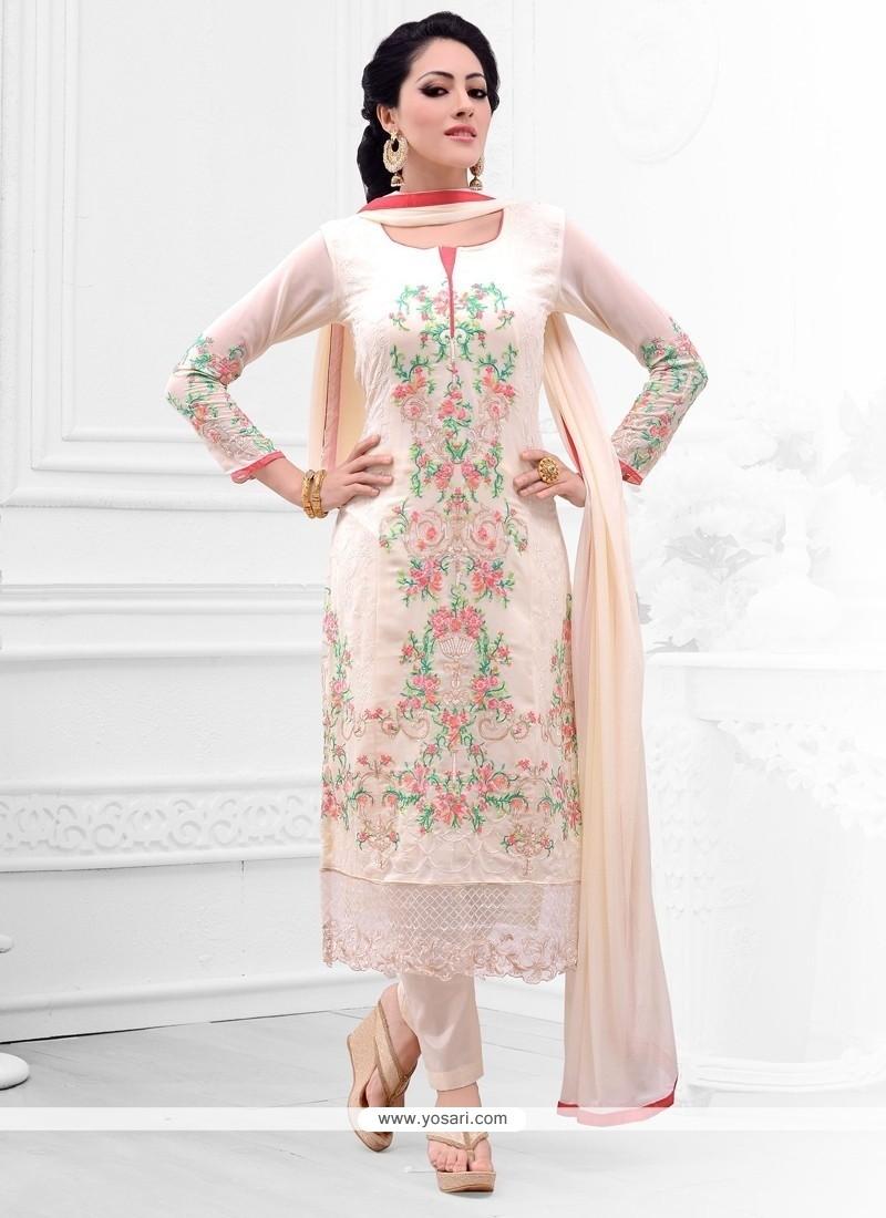 Brilliant Resham Work Cream Salwar Kameez