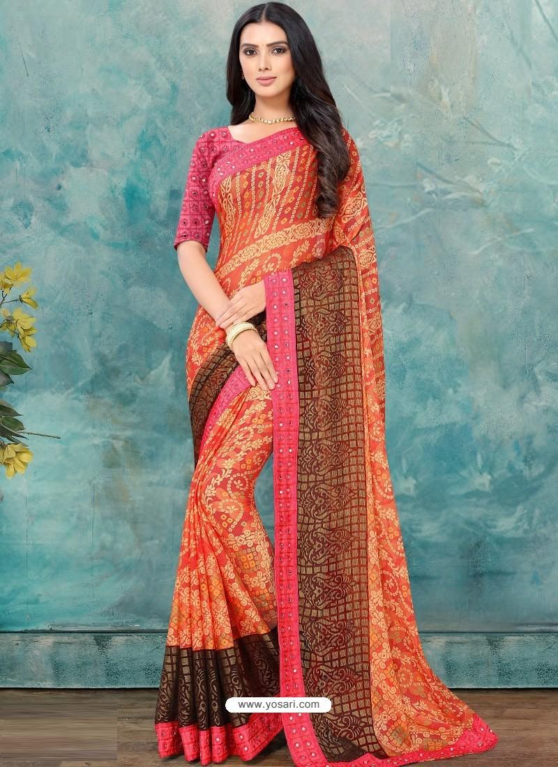 Orange Latest Casual Designer Chiffon Brasso Sari