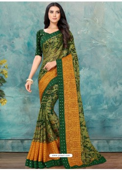 Green Latest Casual Designer Chiffon Brasso Sari