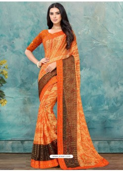 Orange Latest Casual Designer Chiffon Brasso Sari