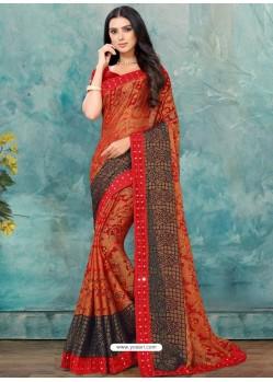 Red Latest Casual Designer Chiffon Brasso Sari