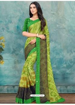 Parrot Green Latest Casual Designer Chiffon Brasso Sari