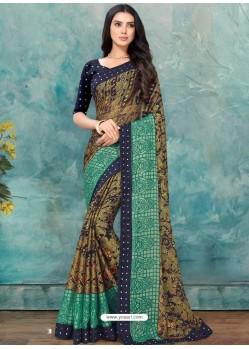 Multi Colour Latest Casual Designer Chiffon Brasso Sari