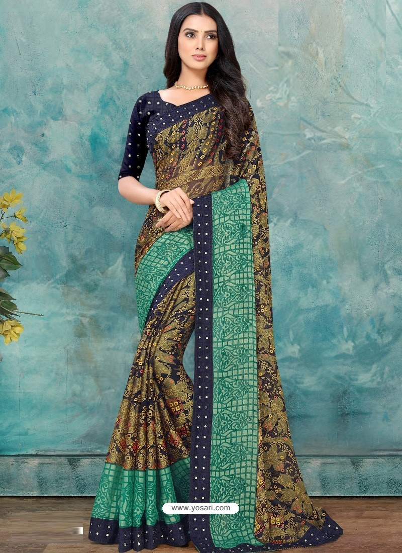 Multi Colour Latest Casual Designer Chiffon Brasso Sari