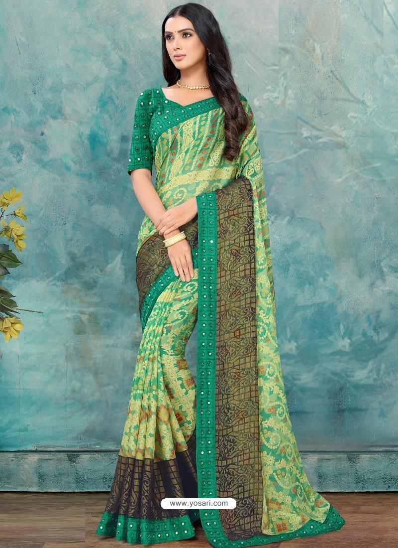 Jade Green Latest Casual Designer Chiffon Brasso Sari