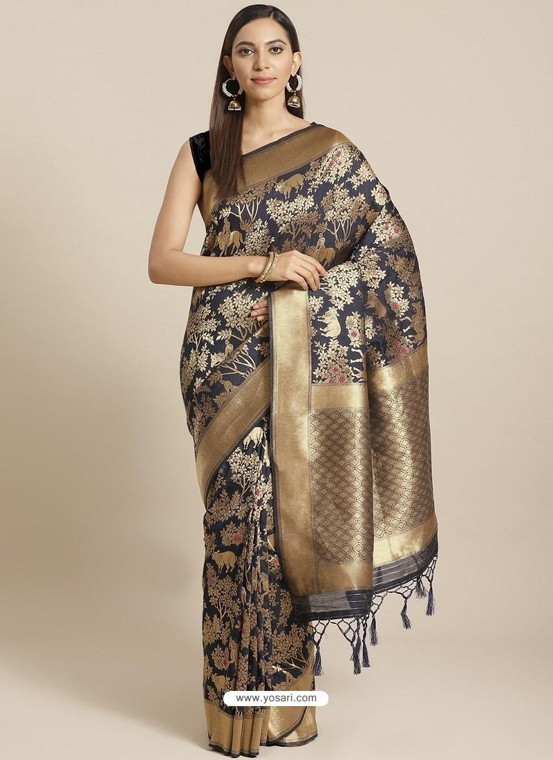 Navy Blue Designer Weaving Viscose Silk Classic Wear Sari