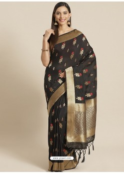 Black Designer Weaving Viscose Silk Classic Wear Sari