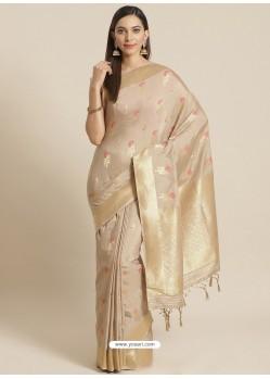 Light Beige Designer Weaving Viscose Silk Classic Wear Sari