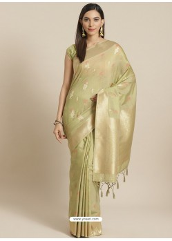 Green Designer Weaving Viscose Silk Classic Wear Sari