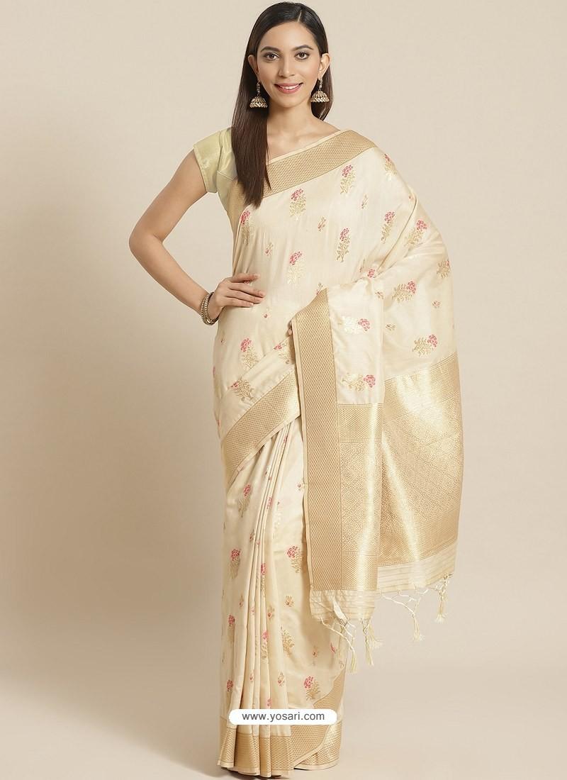 Off White Designer Weaving Viscose Silk Classic Wear Sari