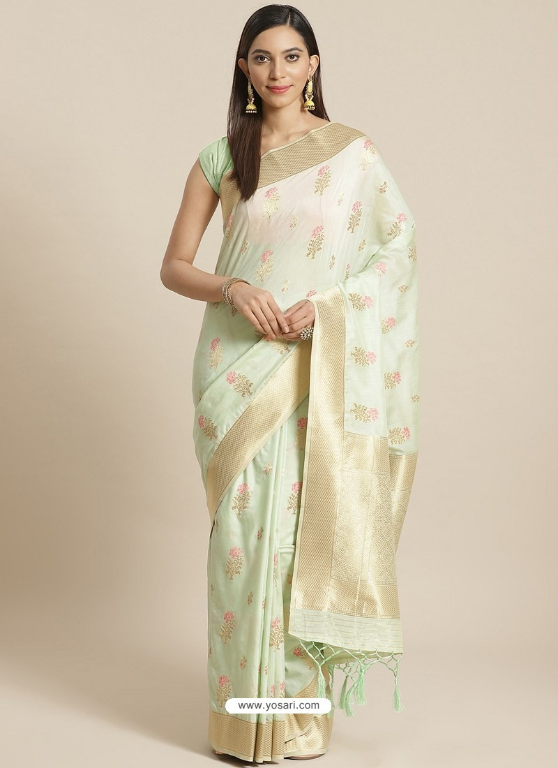 Sea Green Designer Weaving Viscose Silk Classic Wear Sari