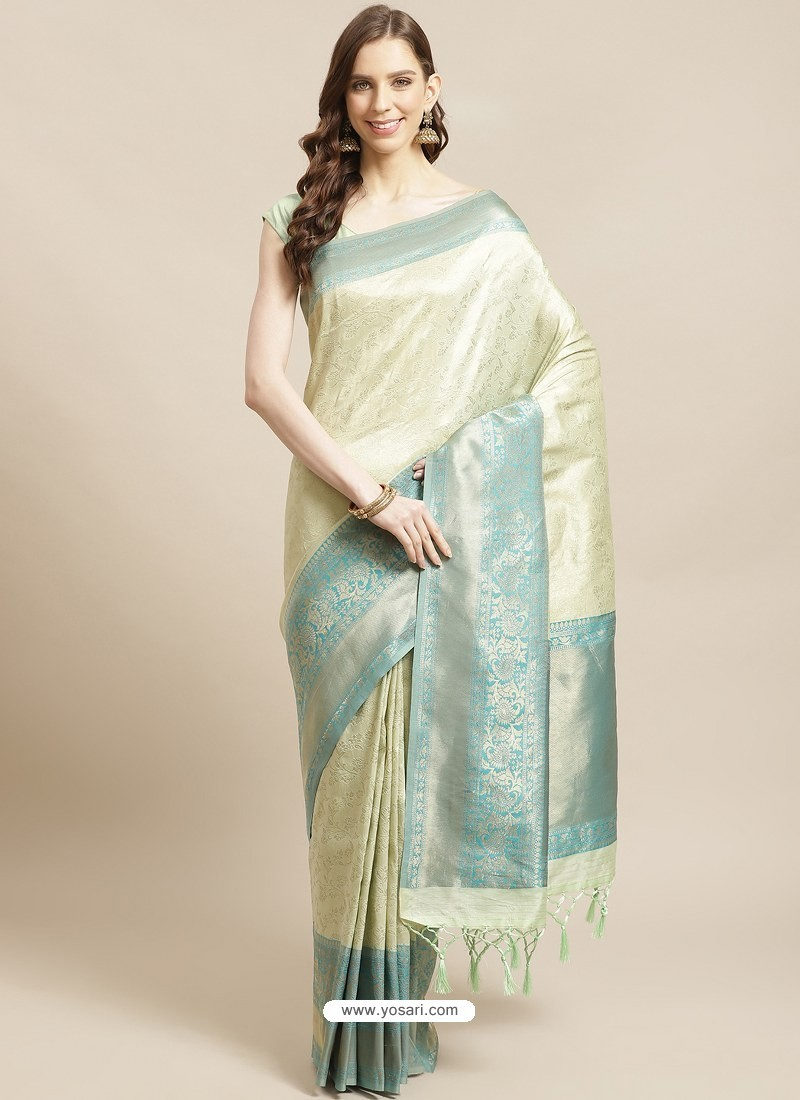 Pista Green Designer Weaving Viscose Silk Classic Wear Sari