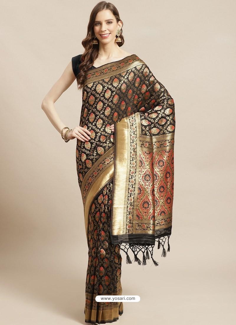 Black Designer Weaving Viscose Silk Classic Wear Sari