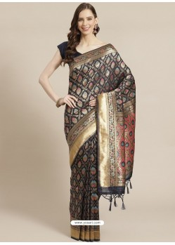 Navy Blue Designer Weaving Viscose Silk Classic Wear Sari