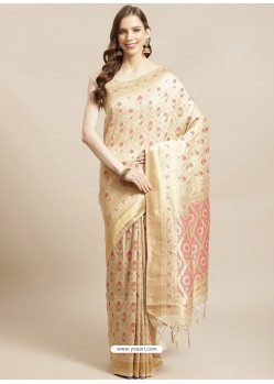 Cream Designer Weaving Viscose Silk Classic Wear Sari